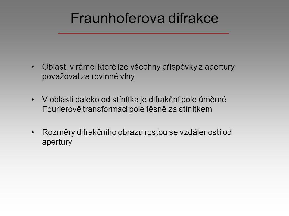 Fraunhoferova difrakce Oblast, v rámci které lze všechny příspěvky z apertury považovat za rovinné vlny V oblasti daleko od stínítka je difrakční pole