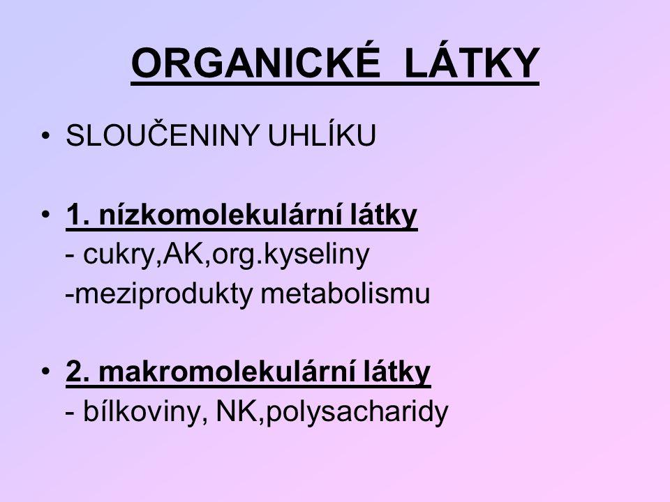 ORGANICKÉ LÁTKY SLOUČENINY UHLÍKU 1. nízkomolekulární látky - cukry,AK,org.kyseliny -meziprodukty metabolismu 2. makromolekulární látky - bílkoviny, N