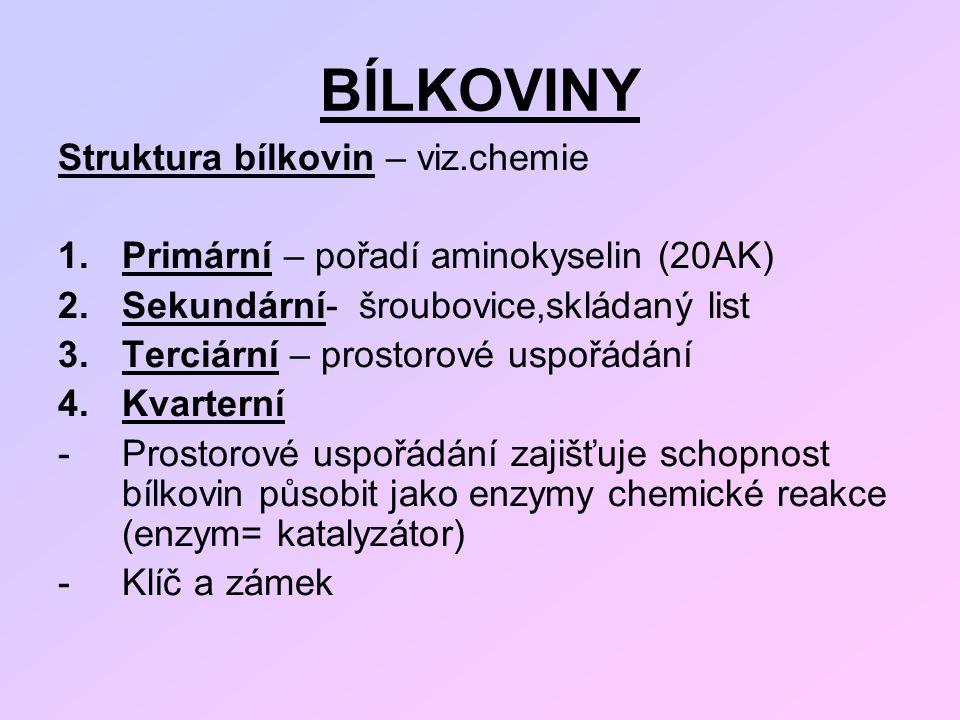 BÍLKOVINY Struktura bílkovin – viz.chemie 1.Primární – pořadí aminokyselin (20AK) 2.Sekundární- šroubovice,skládaný list 3.Terciární – prostorové uspo