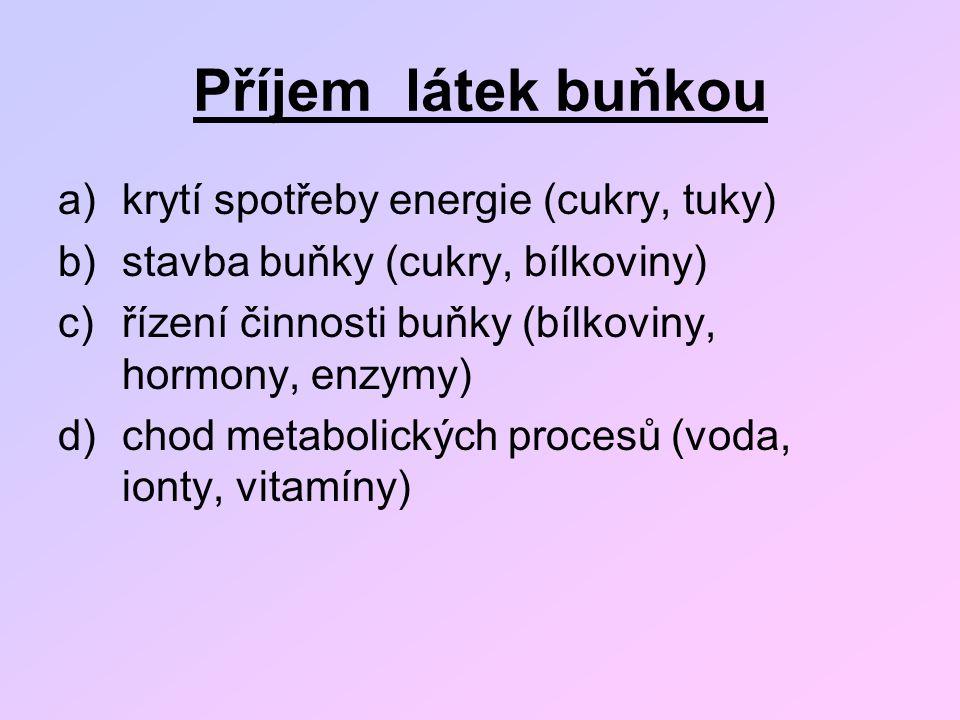 Příjem látek buňkou a)krytí spotřeby energie (cukry, tuky) b)stavba buňky (cukry, bílkoviny) c)řízení činnosti buňky (bílkoviny, hormony, enzymy) d)ch