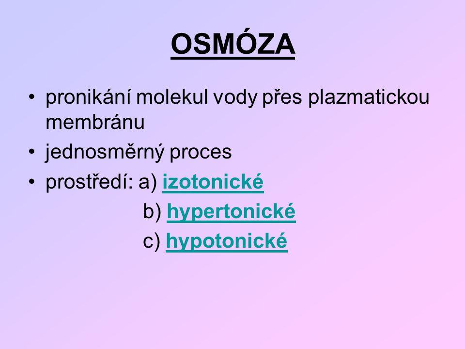 OSMÓZA pronikání molekul vody přes plazmatickou membránu jednosměrný proces prostředí: a) izotonickéizotonické b) hypertonickéhypertonické c) hypotoni