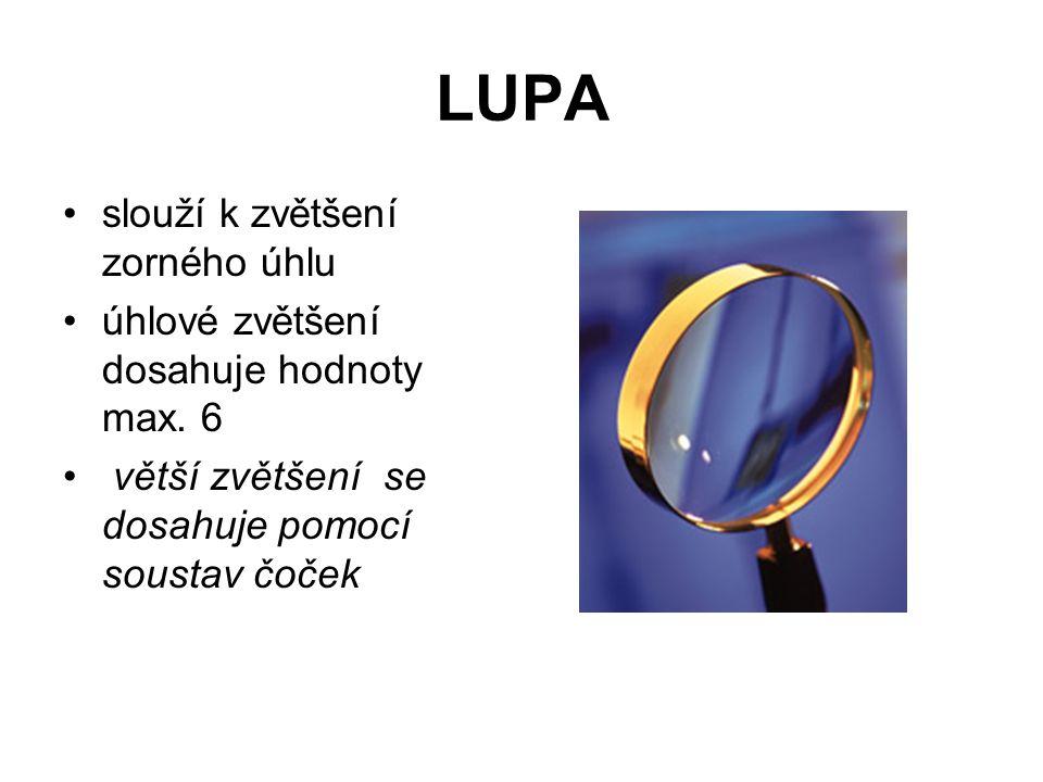 LUPA slouží k zvětšení zorného úhlu úhlové zvětšení dosahuje hodnoty max. 6 větší zvětšení se dosahuje pomocí soustav čoček