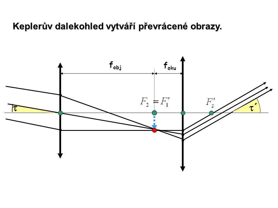 f obj f oku  ´´ Keplerův dalekohled vytváří převrácené obrazy.