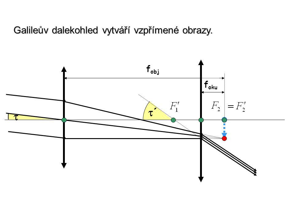 f obj f oku  ´´ Galileův dalekohled vytváří vzpřímené obrazy.
