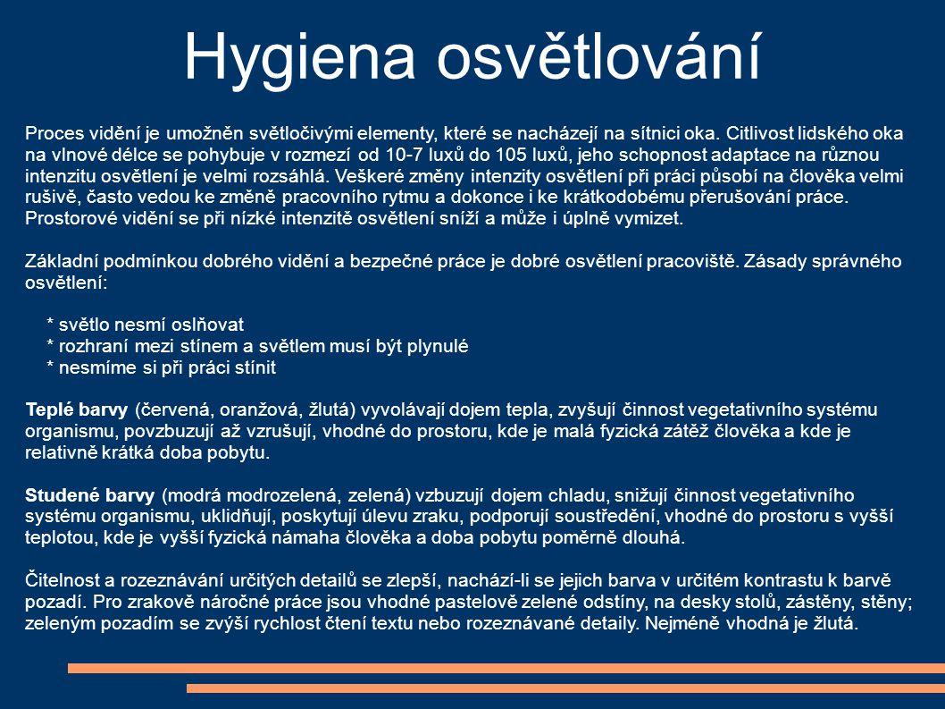 Hygiena osvětlování Proces vidění je umožněn světločivými elementy, které se nacházejí na sítnici oka. Citlivost lidského oka na vlnové délce se pohyb