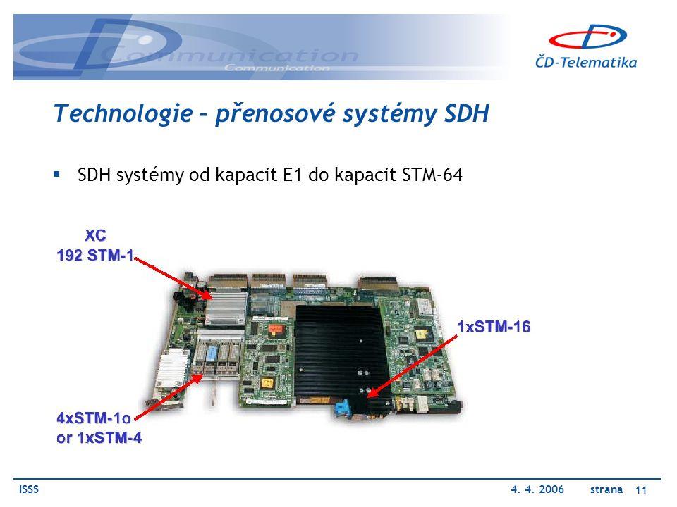 ISSS4. 4. 2006 strana 11 Technologie – přenosové systémy SDH  SDH systémy od kapacit E1 do kapacit STM-64