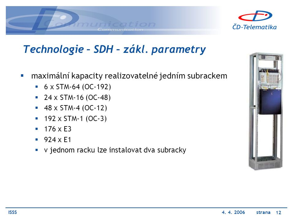ISSS4. 4. 2006 strana 12 Technologie – SDH – zákl. parametry  maximální kapacity realizovatelné jedním subrackem  6 x STM-64 (OC-192)  24 x STM-16