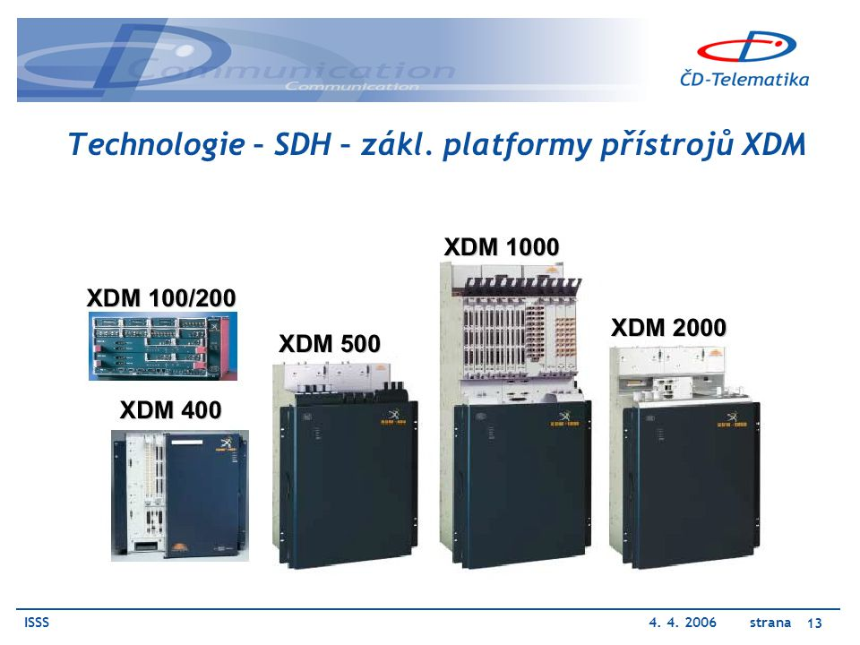 ISSS4. 4. 2006 strana 13 Technologie – SDH – zákl. platformy přístrojů XDM
