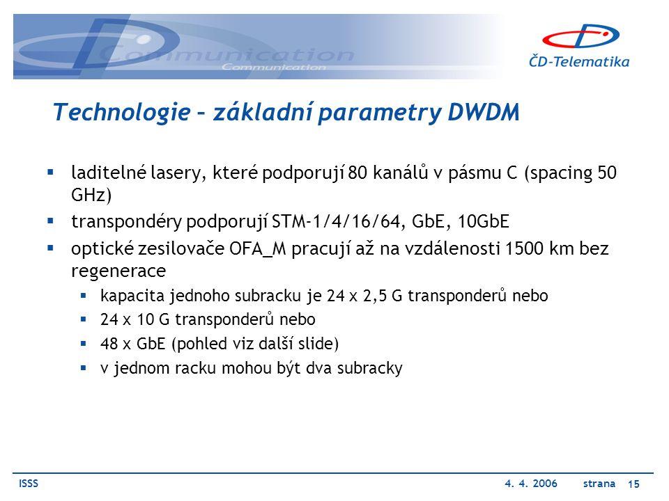 ISSS4. 4. 2006 strana 15 Technologie – základní parametry DWDM  laditelné lasery, které podporují 80 kanálů v pásmu C (spacing 50 GHz)  transpondéry