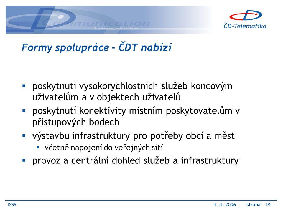 ISSS4. 4. 2006 strana 19 Formy spolupráce – ČDT nabízí  poskytnutí vysokorychlostních služeb koncovým uživatelům a v objektech uživatelů  poskytnutí