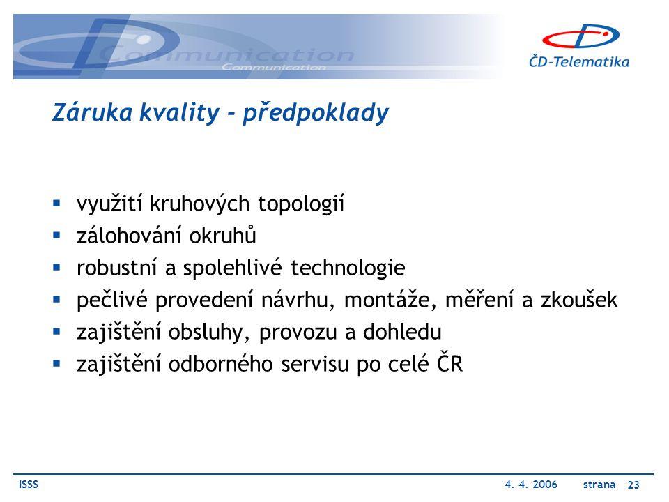 ISSS4. 4. 2006 strana 23 Záruka kvality - předpoklady  využití kruhových topologií  zálohování okruhů  robustní a spolehlivé technologie  pečlivé