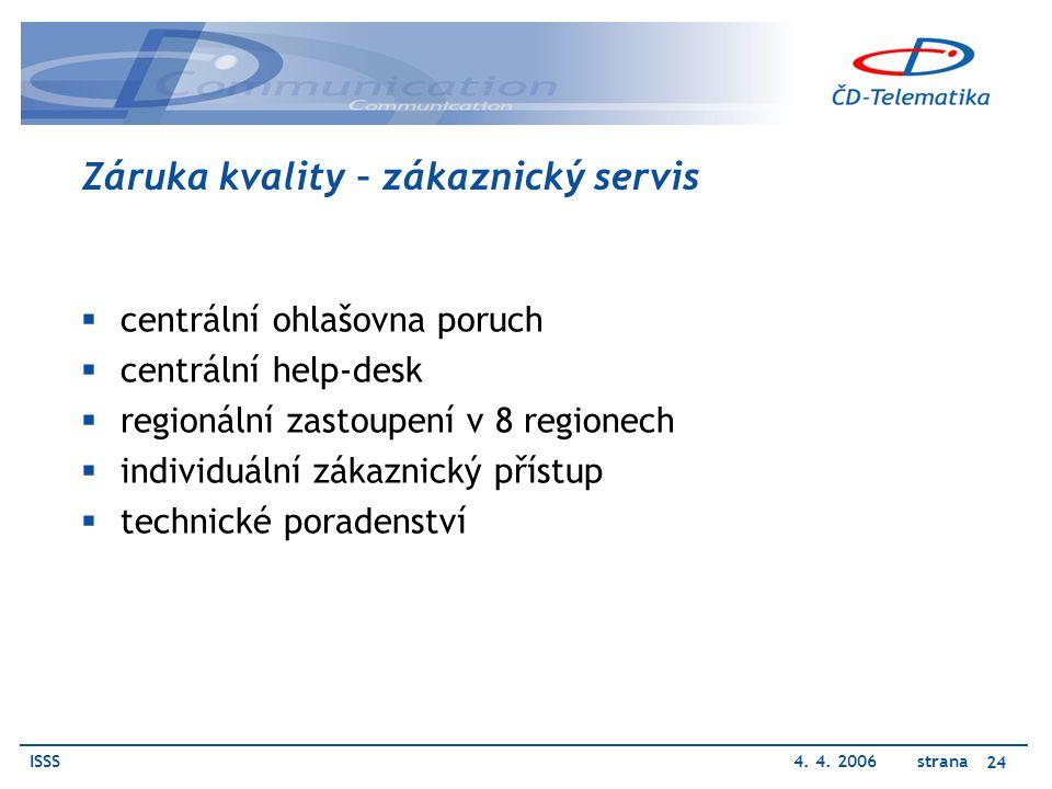 ISSS4. 4. 2006 strana 24 Záruka kvality – zákaznický servis  centrální ohlašovna poruch  centrální help-desk  regionální zastoupení v 8 regionech 