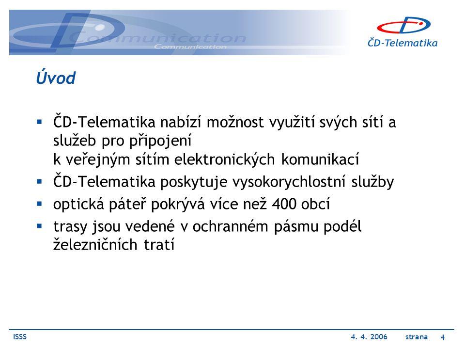 ISSS4. 4. 2006 strana 4 Úvod  ČD-Telematika nabízí možnost využití svých sítí a služeb pro připojení k veřejným sítím elektronických komunikací  ČD-