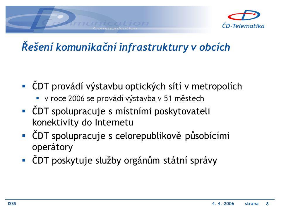 ISSS4. 4. 2006 strana 8 Řešení komunikační infrastruktury v obcích  ČDT provádí výstavbu optických sítí v metropolích  v roce 2006 se provádí výstav