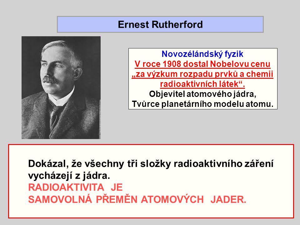 Dokázal, že všechny tři složky radioaktivního záření vycházejí z jádra. RADIOAKTIVITA JE SAMOVOLNÁ PŘEMĚN ATOMOVÝCH JADER. Ernest Rutherford Novozélán