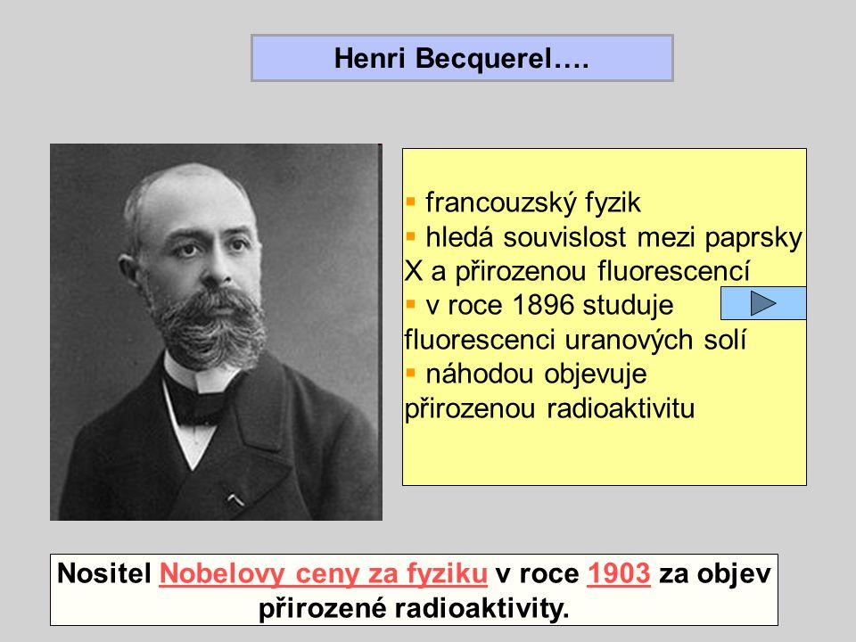 Henri Becquerel….  francouzský fyzik  hledá souvislost mezi paprsky X a přirozenou fluorescencí  v roce 1896 studuje fluorescenci uranových solí 