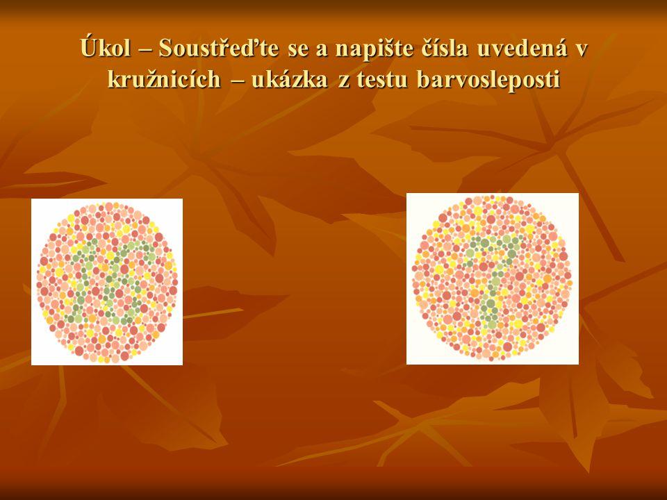 Úkol – Soustřeďte se a napište čísla uvedená v kružnicích – ukázka z testu barvosleposti