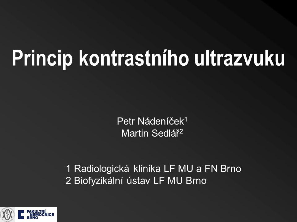 Petr Nádeníček 1 Martin Sedlář 2 1 Radiologická klinika LF MU a FN Brno 2 Biofyzikální ústav LF MU Brno Princip kontrastního ultrazvuku