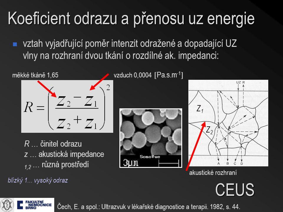 Koeficient odrazu a přenosu uz energie vztah vyjadřující poměr intenzit odražené a dopadající UZ vlny na rozhraní dvou tkání o rozdílné ak. impedanci: