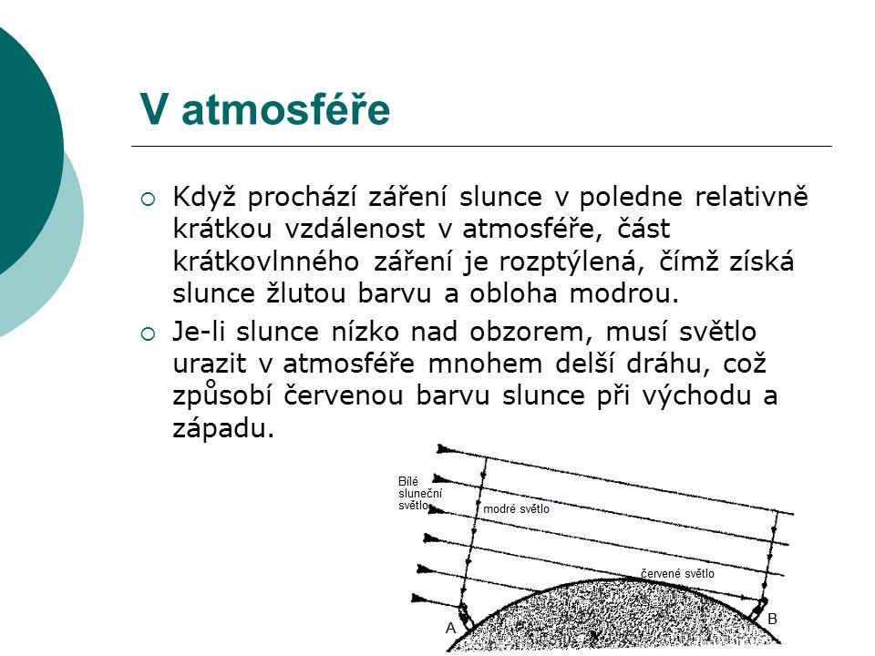 V atmosféře  Když prochází záření slunce v poledne relativně krátkou vzdálenost v atmosféře, část krátkovlnného záření je rozptýlená, čímž získá slun