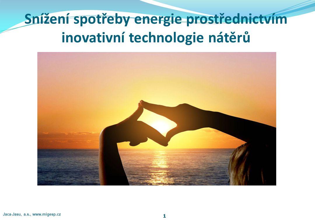 Snížení spotřeby energie prostřednictvím inovativní technologie nátěrů 1 Jaca-Jasu, a.s., www.migesp.cz