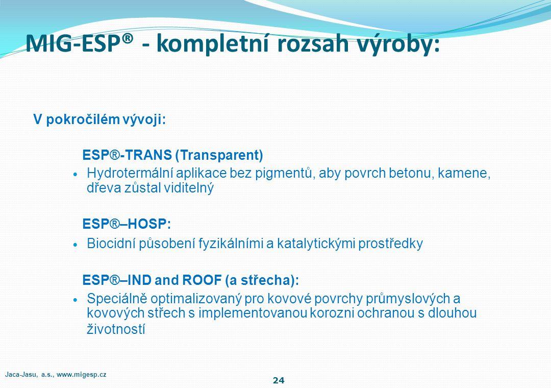 Finální nátěry: ESP ® -EXT (Exteriér) Speciálně optimalizovaný pro venkovní specifikace ESP ® -INT (Interiér) Speciálně optimalizovaný pro dobré vnitř