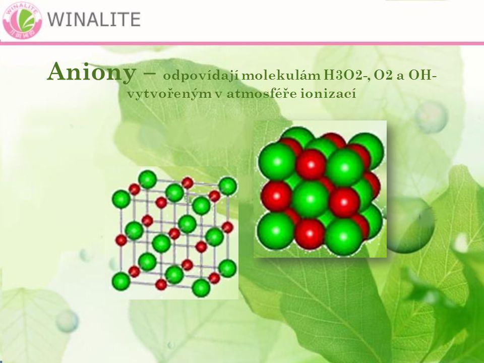 Aniony – odpovídají molekulám H3O2-, O2 a OH- vytvořeným v atmosféře ionizací