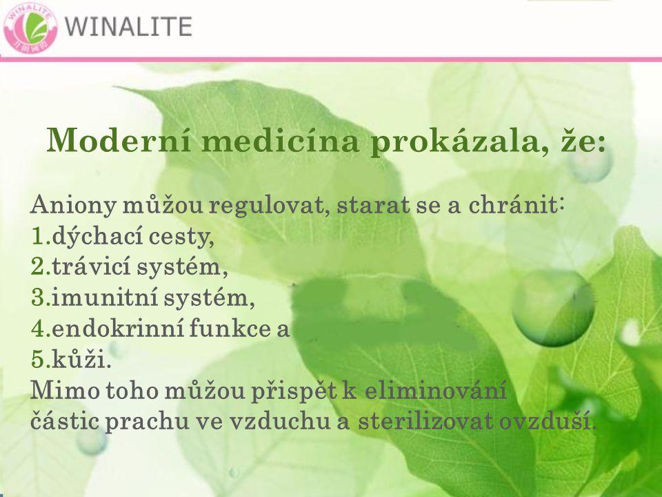Moderní medicína prokázala, že: Aniony můžou regulovat, starat se a chránit: 1.dýchací cesty, 2.trávicí systém, 3.imunitní systém, 4.endokrinní funkce a 5.kůži.