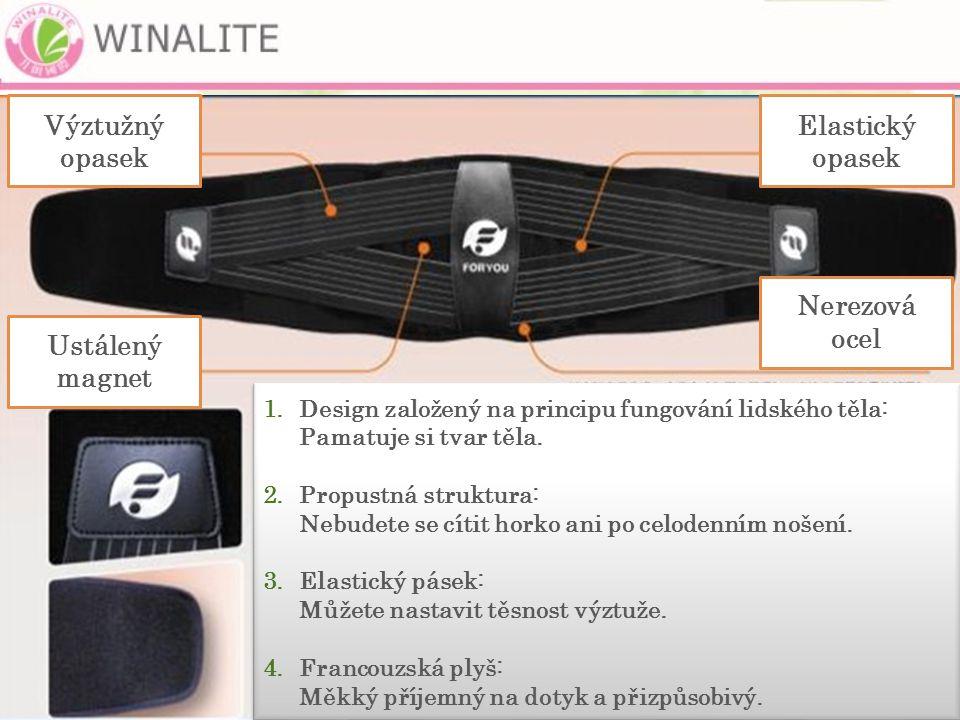 Ustálený magnet Výztužný opasek Elastický opasek Nerezová ocel 1.Design založený na principu fungování lidského těla: Pamatuje si tvar těla.