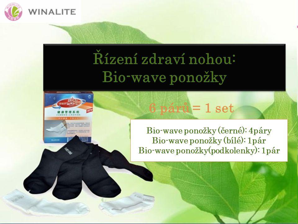 Řízení zdraví nohou: Bio-wave ponožky Řízení zdraví nohou: Bio-wave ponožky 6 párů = 1 set Bio-wave ponožky (černé): 4páry Bio-wave ponožky (bílé): 1pár Bio-wave ponožky(podkolenky): 1pár
