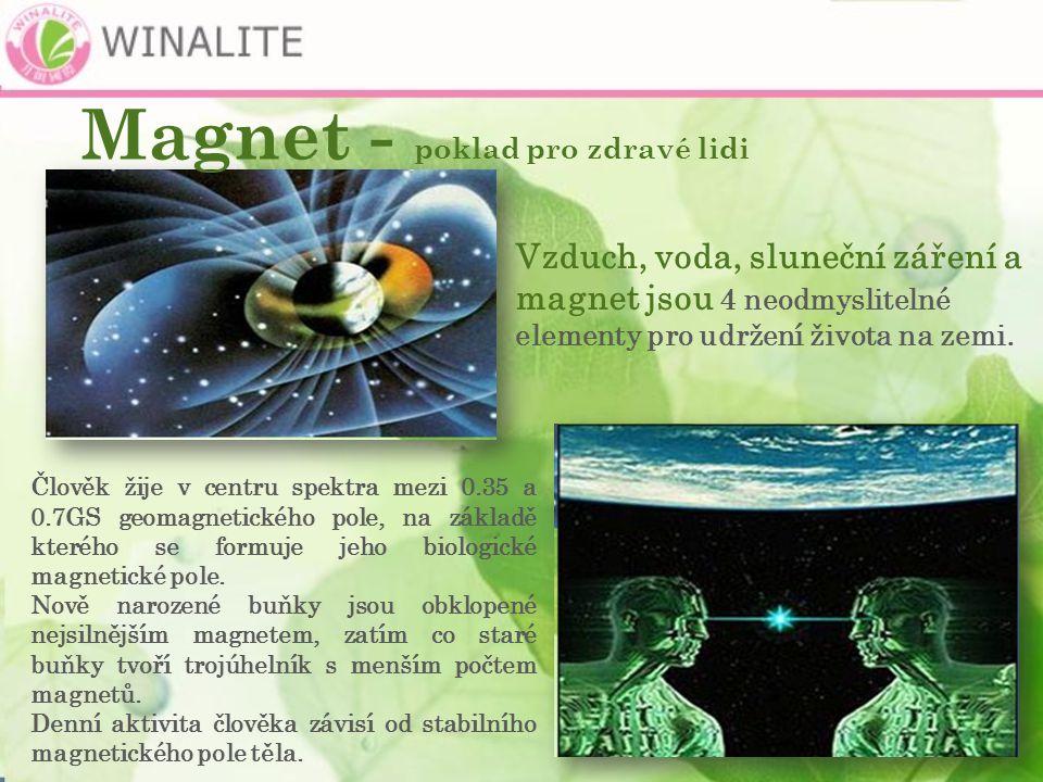 Magnet - poklad pro zdravé lidi Vzduch, voda, sluneční záření a magnet jsou 4 neodmyslitelné elementy pro udržení života na zemi.
