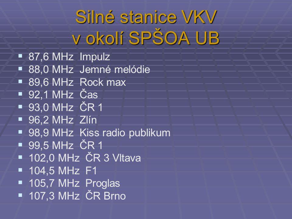 Silné stanice VKV v okolí SPŠOA UB  87,6 MHz Impulz  88,0 MHz Jemné melódie  89,6 MHz Rock max  92,1 MHz Čas  93,0 MHz ČR 1  96,2 MHz Zlín  98,9 MHz Kiss radio publikum  99,5 MHz ČR 1  102,0 MHz ČR 3 Vltava  104,5 MHz F1  105,7 MHz Proglas  107,3 MHz ČR Brno