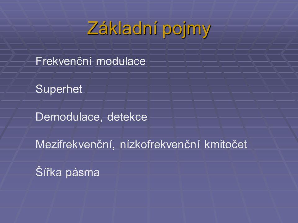 Základní pojmy Frekvenční modulace Superhet Demodulace, detekce Mezifrekvenční, nízkofrekvenční kmitočet Šířka pásma