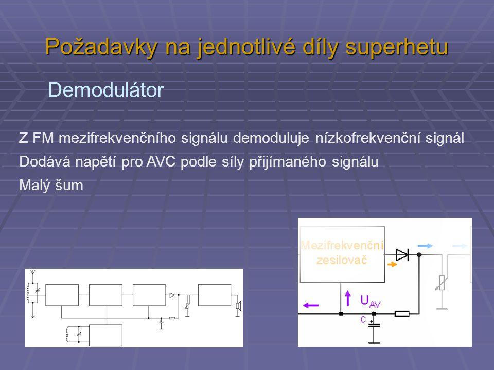 Požadavky na jednotlivé díly superhetu Demodulátor Z FM mezifrekvenčního signálu demoduluje nízkofrekvenční signál Dodává napětí pro AVC podle síly přijímaného signálu Malý šum
