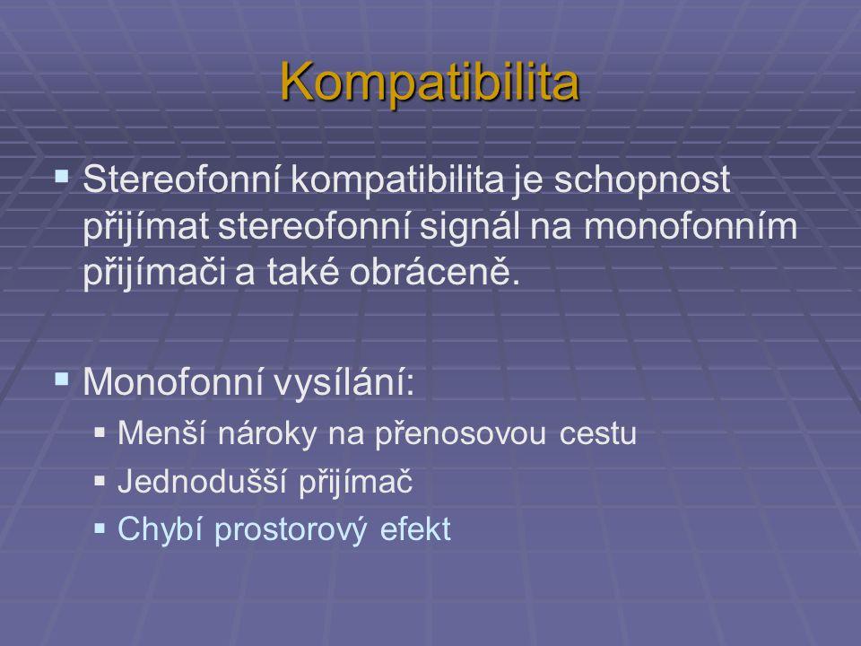 Kompatibilita  Stereofonní kompatibilita je schopnost přijímat stereofonní signál na monofonním přijímači a také obráceně.