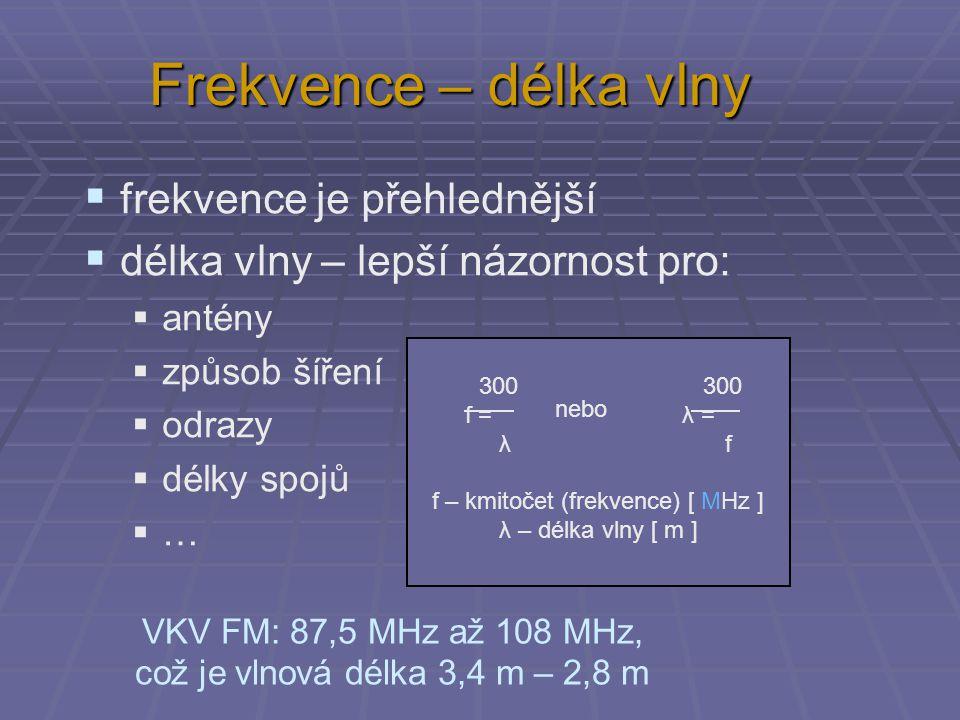 Frekvence – délka vlny  frekvence je přehlednější  délka vlny – lepší názornost pro:  antény  způsob šíření  odrazy  délky spojů  … 300 f = λ 300 λ = f nebo f – kmitočet (frekvence) [ MHz ] λ – délka vlny [ m ] VKV FM: 87,5 MHz až 108 MHz, což je vlnová délka 3,4 m – 2,8 m