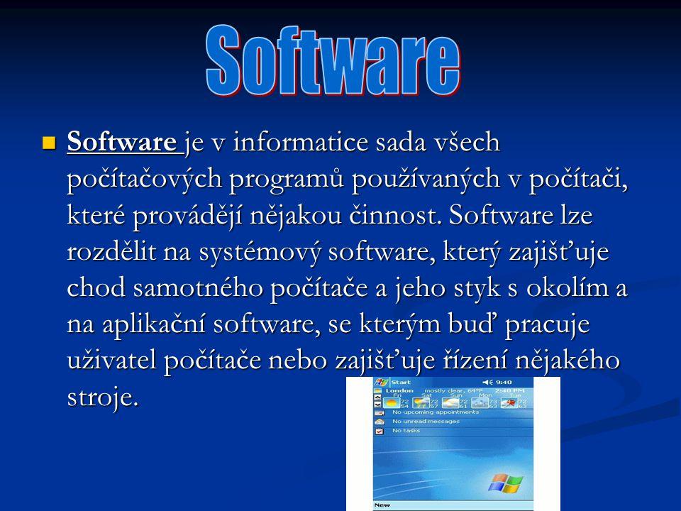 Software je v informatice sada všech počítačových programů používaných v počítači, které provádějí nějakou činnost. Software lze rozdělit na systémový
