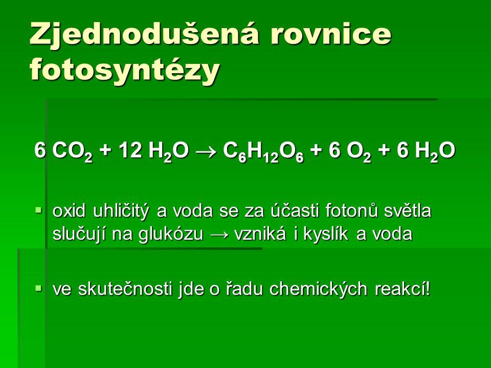 Zjednodušená rovnice fotosyntézy 6 CO 2 + 12 H 2 O  C 6 H 12 O 6 + 6 O 2 + 6 H 2 O  oxid uhličitý a voda se za účasti fotonů světla slučují na glukózu → vzniká i kyslík a voda  ve skutečnosti jde o řadu chemických reakcí!