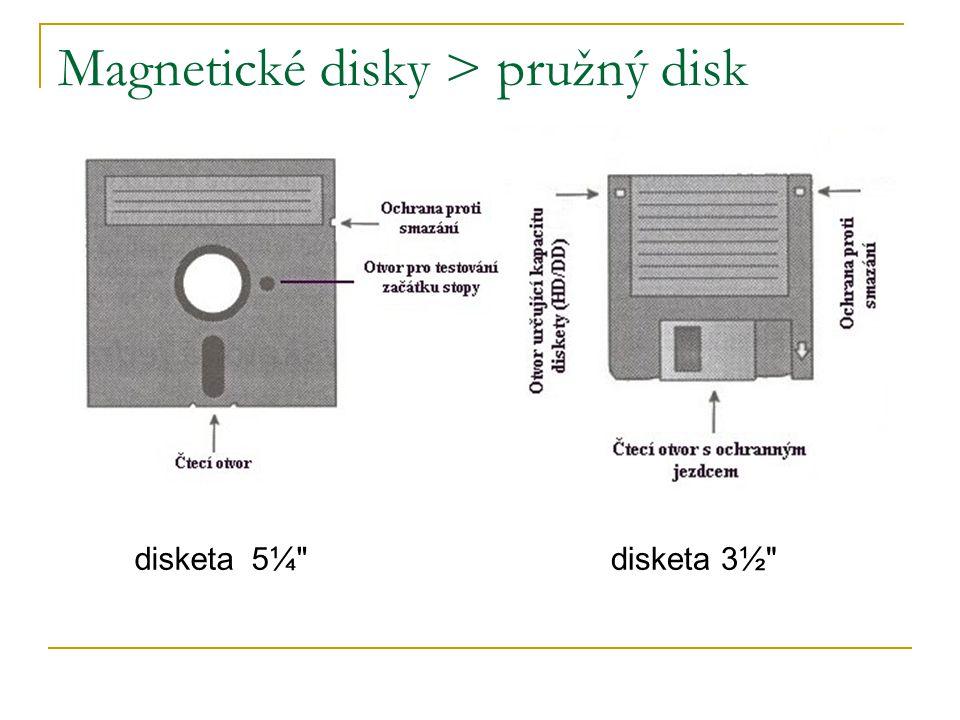 Magnetické disky > pružný disk disketa 5¼ disketa 3½