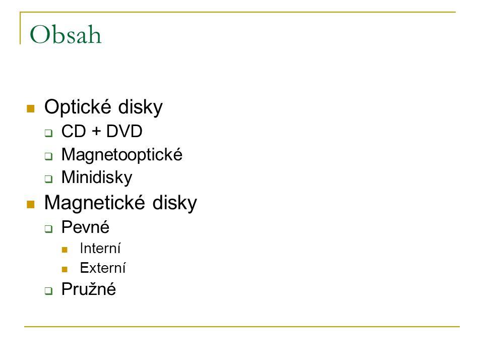 Obsah Optické disky  CD + DVD  Magnetooptické  Minidisky Magnetické disky  Pevné Interní Externí  Pružné