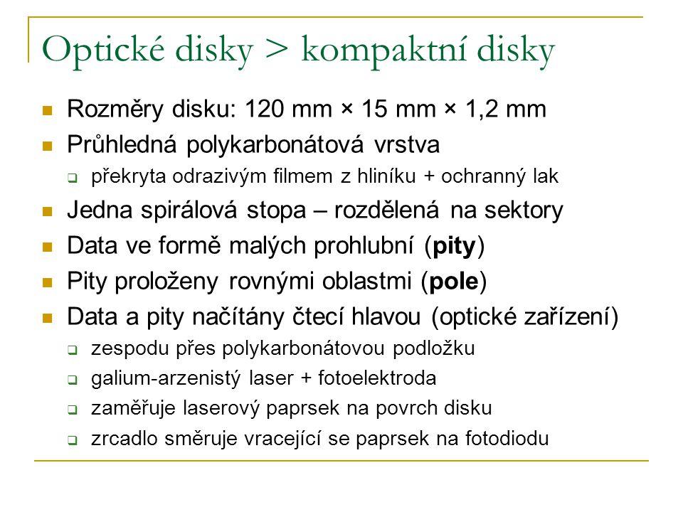 Optické disky > kompaktní disky Rozměry disku: 120 mm × 15 mm × 1,2 mm Průhledná polykarbonátová vrstva  překryta odrazivým filmem z hliníku + ochranný lak Jedna spirálová stopa – rozdělená na sektory Data ve formě malých prohlubní (pity) Pity proloženy rovnými oblastmi (pole) Data a pity načítány čtecí hlavou (optické zařízení)  zespodu přes polykarbonátovou podložku  galium-arzenistý laser + fotoelektroda  zaměřuje laserový paprsek na povrch disku  zrcadlo směruje vracející se paprsek na fotodiodu