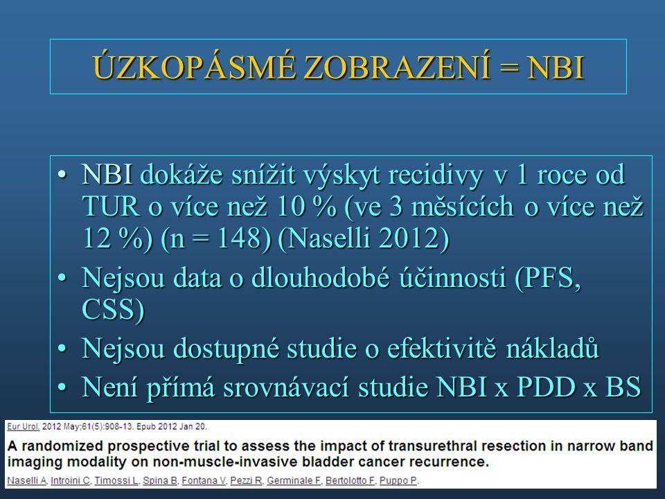 NBI dokáže snížit výskyt recidivy v 1 roce od TUR o více než 10 % (ve 3 měsících o více než 12 %) (n = 148) (Naselli 2012)NBI dokáže snížit výskyt rec