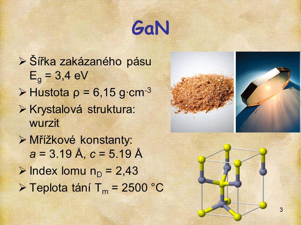 3 GaN  Šířka zakázaného pásu E g = 3,4 eV  Hustota ρ = 6,15 g·cm -3  Krystalová struktura: wurzit  Mřížkové konstanty: a = 3.19 Å, c = 5.19 Å  In