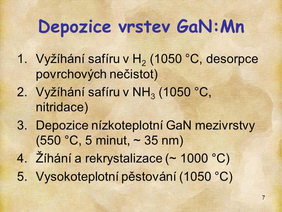 8 Safír (Al 2 O 3 ) Depozice vrstev GaN:Mn  (CH 3 ) 3 Ga + NH 3 = GaN + 3CH 4  GaN: p = 200 mbar, T = 1050 °C, V/III poměr 1360 (molární)  Mn: 3,2 μmol·min -1 (MCp) 2 Mn, 1 hod Safír (Al 2 O 3 ) GaN nízkoteplotní GaN:Mn GaN nízkoteplotníGaNGaN:Mn