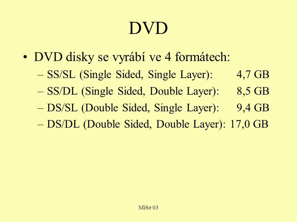 MiSe 03 DVD DVD disky se vyrábí ve 4 formátech: –SS/SL (Single Sided, Single Layer): 4,7 GB –SS/DL (Single Sided, Double Layer): 8,5 GB –DS/SL (Double