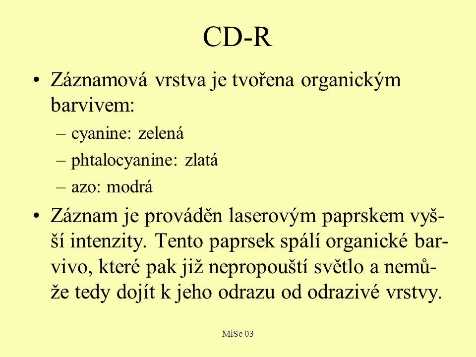 MiSe 03 CD-RW CD-RW disky dovolují na rozdíl od CD-R disků, aby pořízený záznam (v CD-RW me- chanice) byl přemazán a proveden znovu: