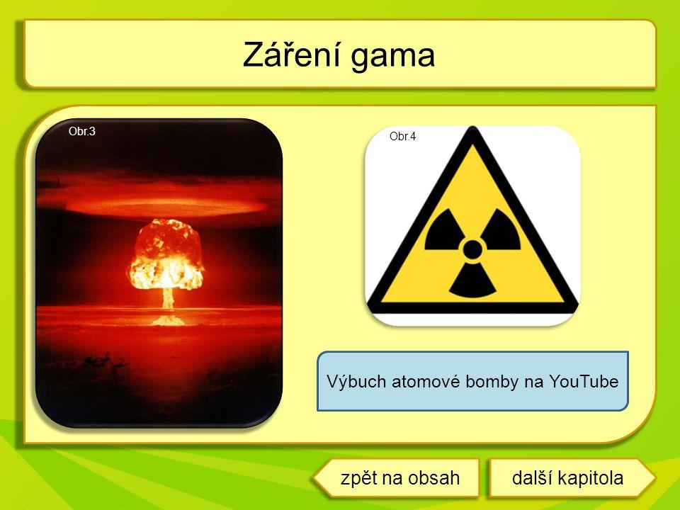 Záření gama Obr.3 Výbuch atomové bomby na YouTube Obr.4 další kapitolazpět na obsah