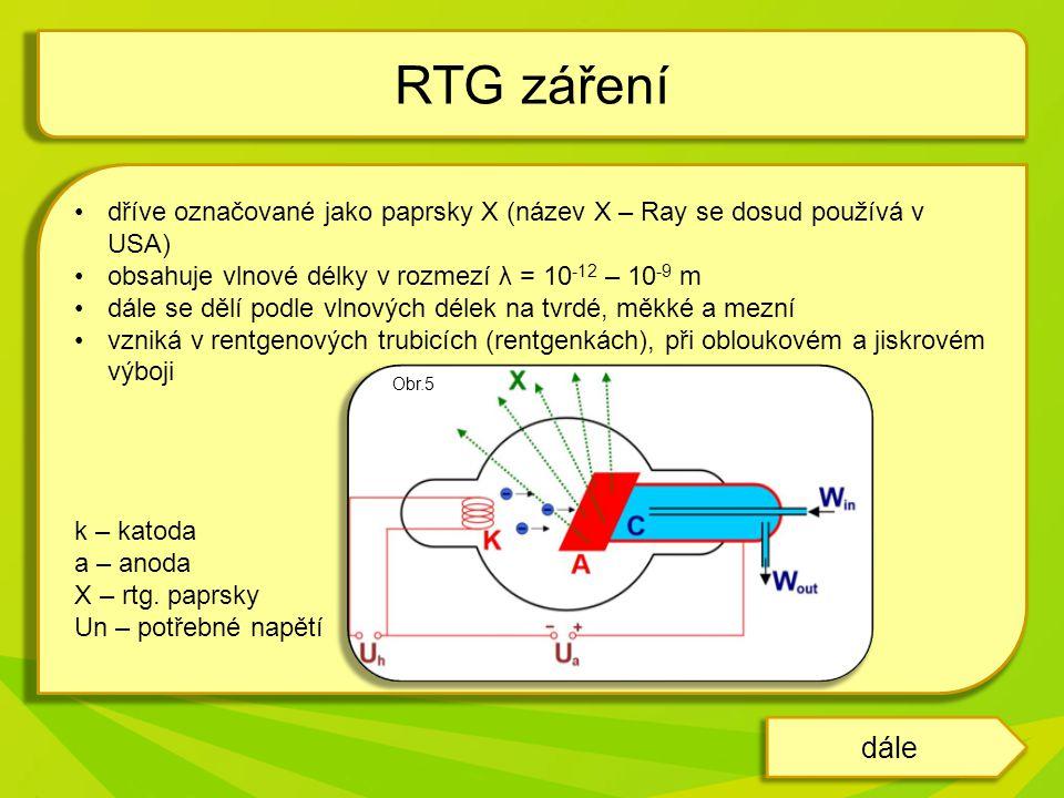 dříve označované jako paprsky X (název X – Ray se dosud používá v USA) obsahuje vlnové délky v rozmezí λ = 10 -12 – 10 -9 m dále se dělí podle vlnových délek na tvrdé, měkké a mezní vzniká v rentgenových trubicích (rentgenkách), při obloukovém a jiskrovém výboji k – katoda a – anoda X – rtg.