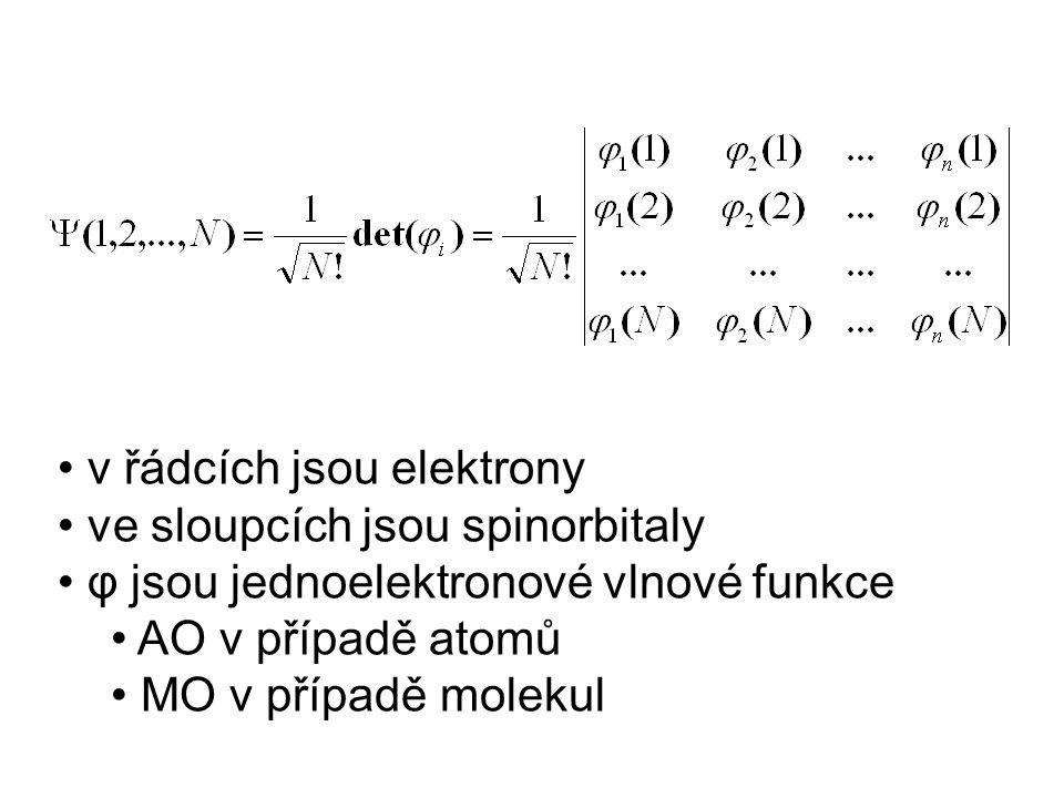 v řádcích jsou elektrony ve sloupcích jsou spinorbitaly φ jsou jednoelektronové vlnové funkce AO v případě atomů MO v případě molekul