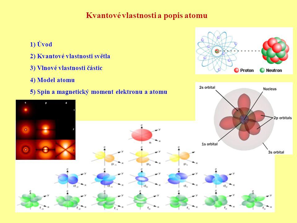 Kvantové vlastnosti a popis atomu 1) Úvod 2) Kvantové vlastnosti světla 3) Vlnové vlastnosti částic 4) Model atomu 5) Spin a magnetický moment elektronu a atomu